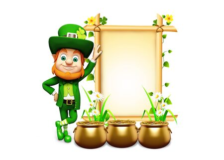 Leprechaun for st patrick s day with golden coins and pot with sign photo