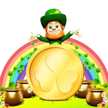 Leprechaun for st patrick s day with golden coins and pot with rainbow background photo