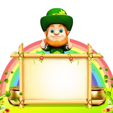 Leprechaun for st  patrick s day with big sign and rainbow photo