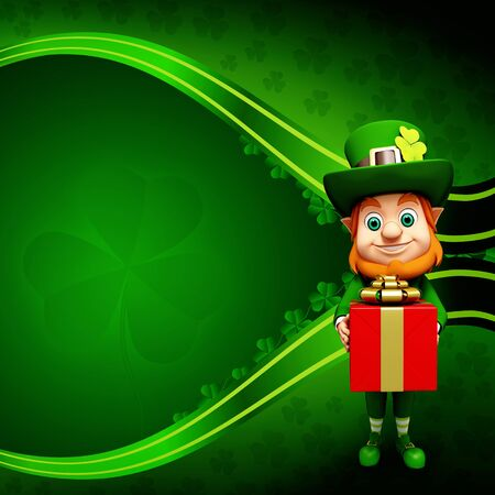 Leprechaun for st  patrick s day red gift box Stock Photo - 19283979