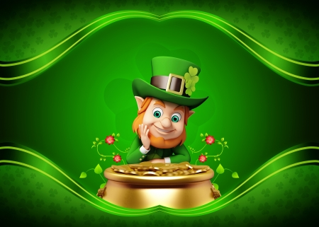 st patrick s day: Leprechaun for st  patrick s day with golden coins and pot