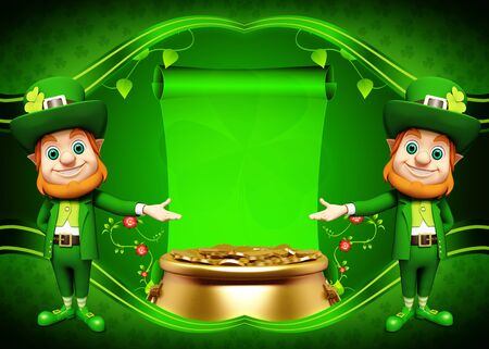 Leprechaun for st  patrick s day with golden coins and pot Stock Photo - 19283959
