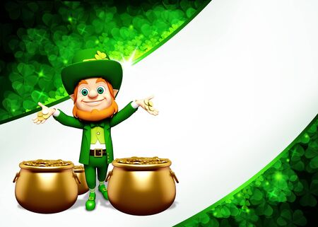 Leprechaun for st  patrick s day with golden coins and pot photo