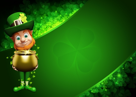 Leprechaun for st  patrick s day with golden coins and pot