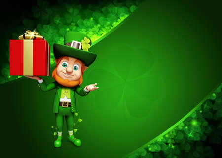 Leprechaun for st  patrick s day with big gift photo