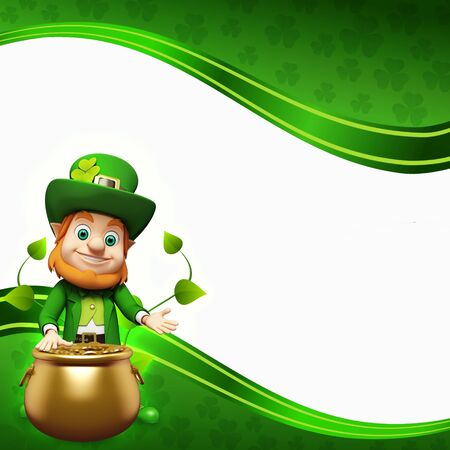 Leprechaun for st  patrick s day with golden coins and pot Stock Photo - 19283972