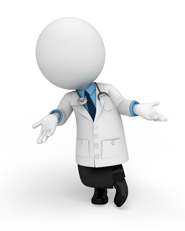 require: 3d white people working as doctor on white background Stock Photo