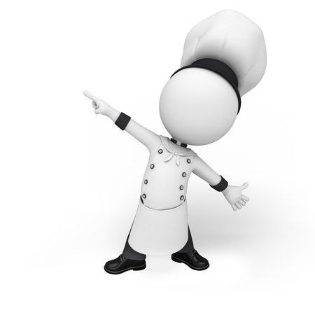 little chef: 3d white people as chef Stock Photo