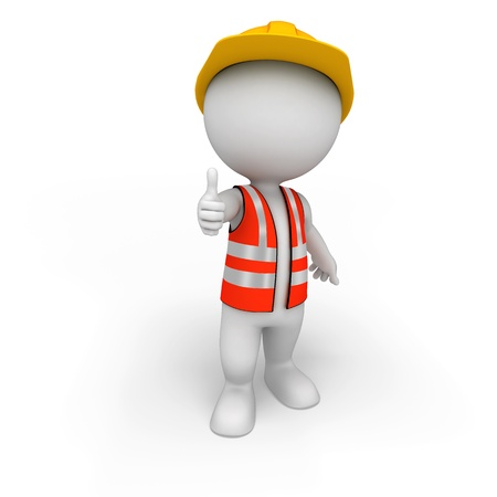 man full body: 3d white people as road worker Stock Photo