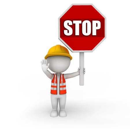fullbody: 3d white people as road worker Stock Photo