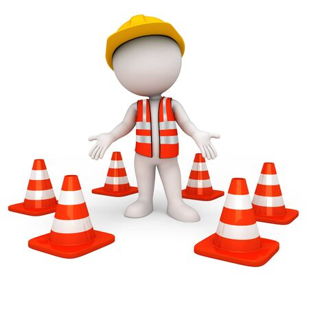 3d white people as road worker  photo