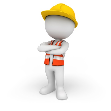 3d white people as road worker Stock Photo