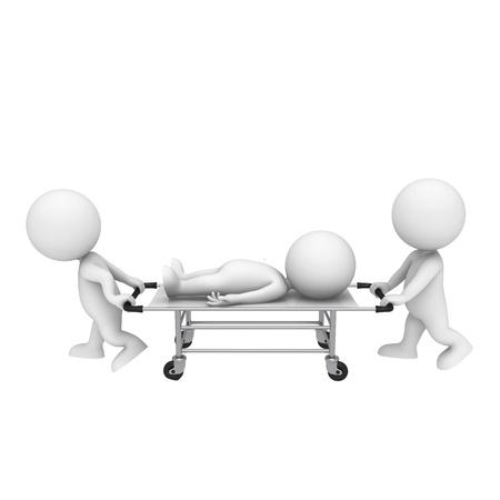 petit bonhomme: 3d blancs comme médecin et son patient