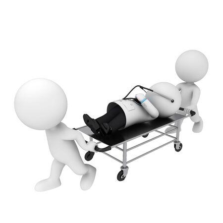 petit homme: 3d blancs comme m�decin et son patient