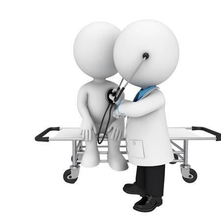 3d witte mensen als arts en patiënt