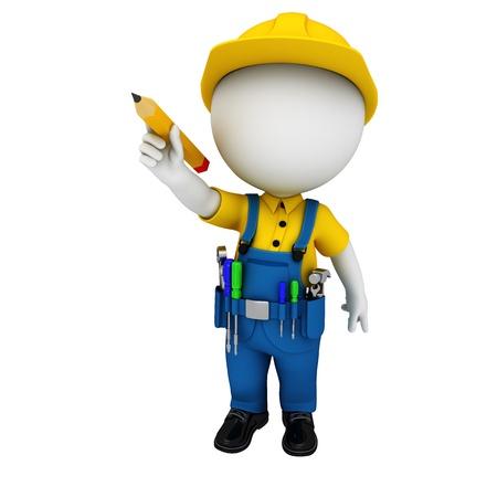 steel workers: 3d white people as plumber
