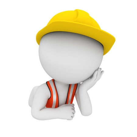 road worker: 3d white people as road worker Stock Photo