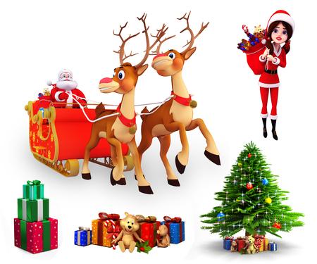 santa girl: Christmas element