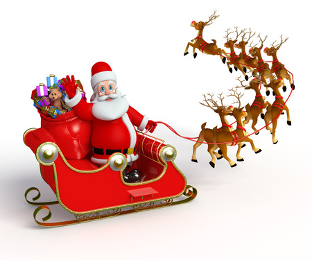 Santa With his sleigh Stock Photo