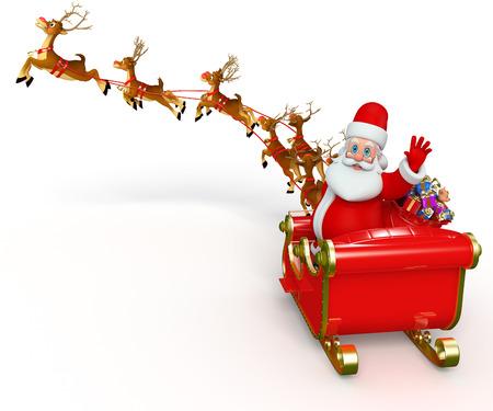 blue santa: Santa With his sleigh Stock Photo