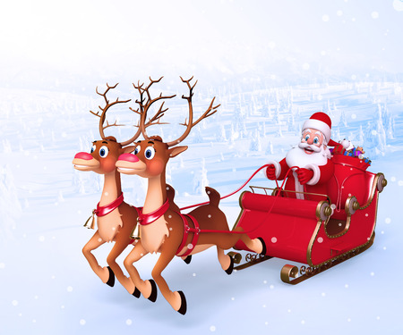 Santa With his sleigh photo
