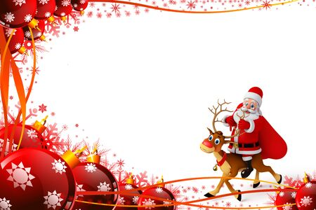 Santa claus sitting on the reindeer photo