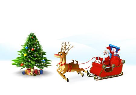 Santa claus with his sleigh photo