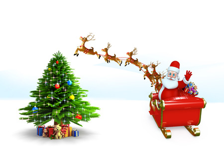 Santa claus with his sleigh photo