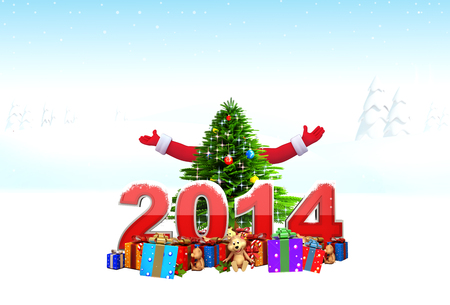 Santa claus with new year text photo