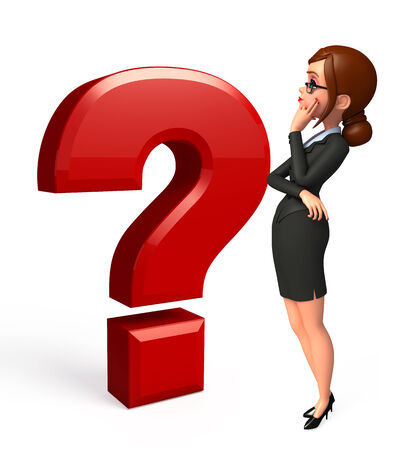 Young Business woman with question mark photo