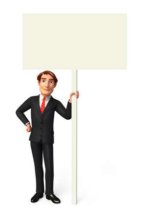 Young Business man with sign photo