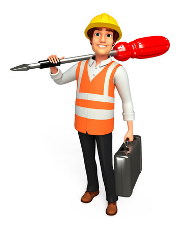 screw driver: Worker with screw driver