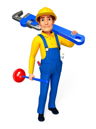 Plumber with wrench and toilet plunger Stock Photo