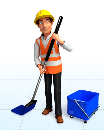 Worker with cleaning mob