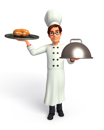 chicken dish: Chef with chicken dish and pan