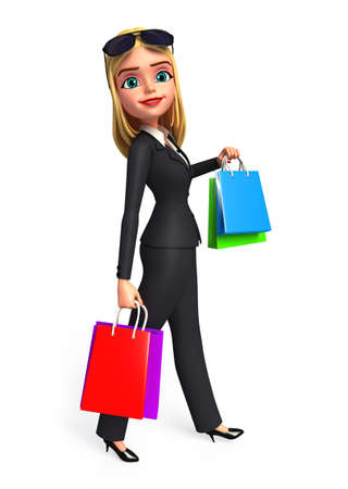 Young Business woman with shopping bags photo