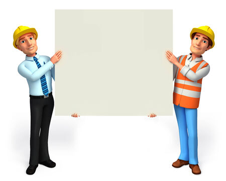 service man: Worker and service man with sign