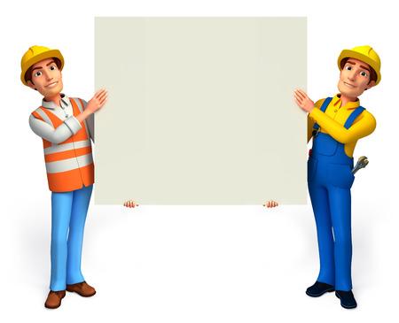 Arbeiter und Klempner mit Zeichen Standard-Bild - 24405974