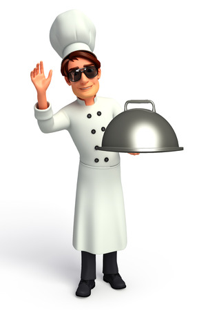 frying pan: Chef with frying pan