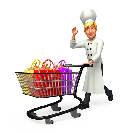 Chef with trolley and shopping bags