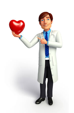quot: Doctor with red heart Stock Photo