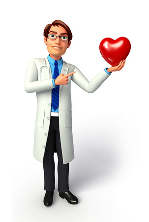 Doctor with red heart Banque d'images