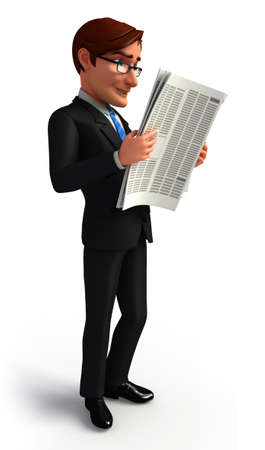 Business man is reading news paper photo