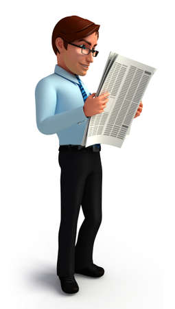 service man: Service man is reading news paper Stock Photo