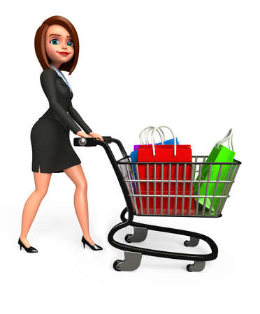 Young Business woman with shopping bags and trolley photo
