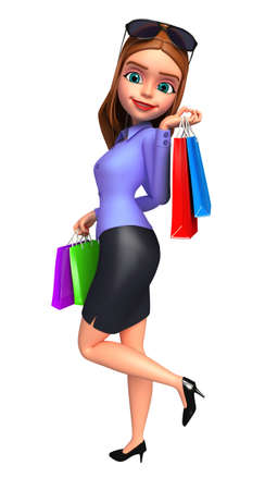 Office girl with shopping bags photo