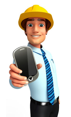 service man: Service man with mobile Stock Photo