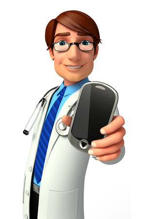 Young Doctor with mobile Stock Photo