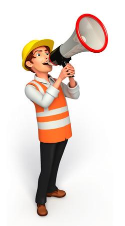 loud speaker: Worker with loud speaker