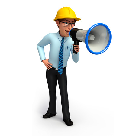 loud speaker: Service man with loud speaker Stock Photo